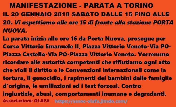 L'Associazione Olafa organizza una manifestazione a Torino