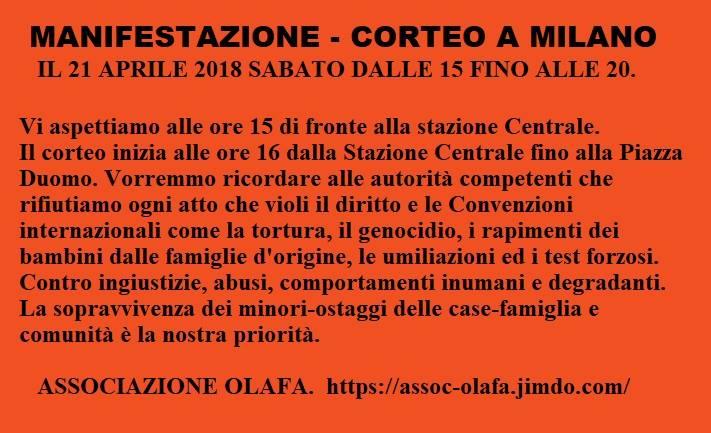 Manifestazione-corteo a Milano per i diritti dei minori e delle famiglie di origine