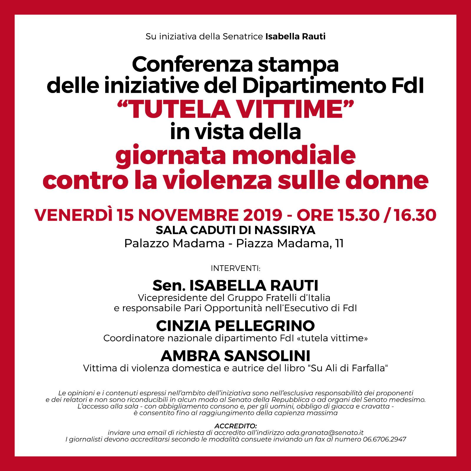 Conferenza stampa Fratelli d'Italia per la giornata mondiale contro la violenza sulle donne